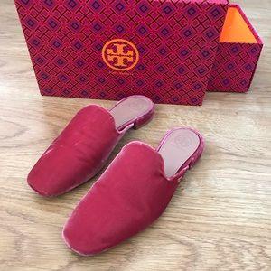 Tory Burch Hot Pink Velvet Flats